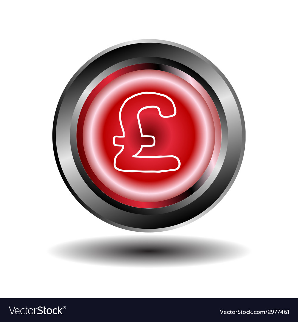 Red glossy round pound button vector   Price: 1 Credit (USD $1)
