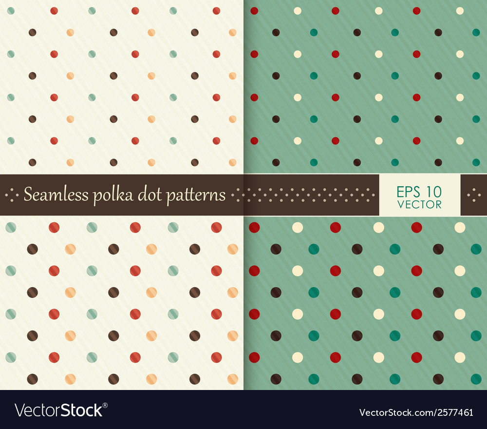 Set seamless colorful polka dot pattern vector | Price: 1 Credit (USD $1)