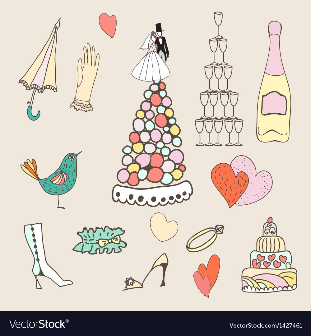 Wedding set of cute hand drawn icons vector | Price: 1 Credit (USD $1)