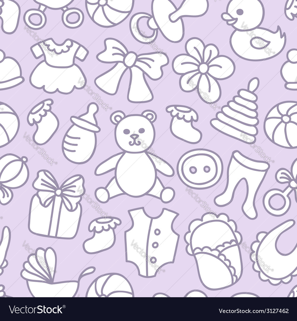 Baby toys and elements seamless pattern vector | Price: 1 Credit (USD $1)