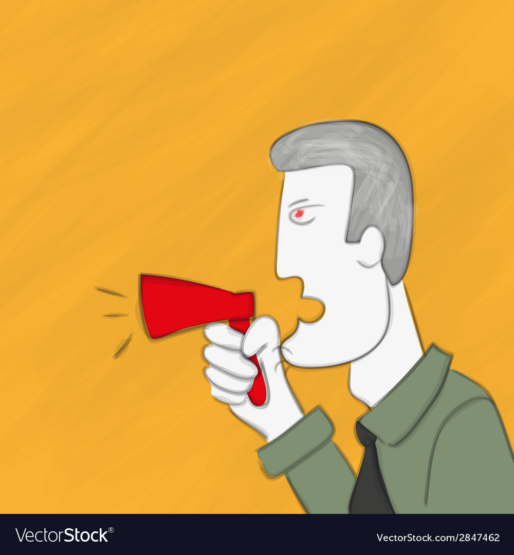 Business man is shouting via megaphone vector | Price: 1 Credit (USD $1)