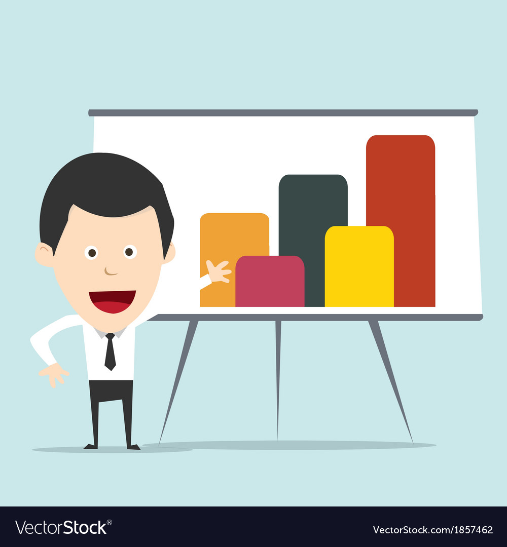 Cartoon business man present graph vector | Price: 1 Credit (USD $1)