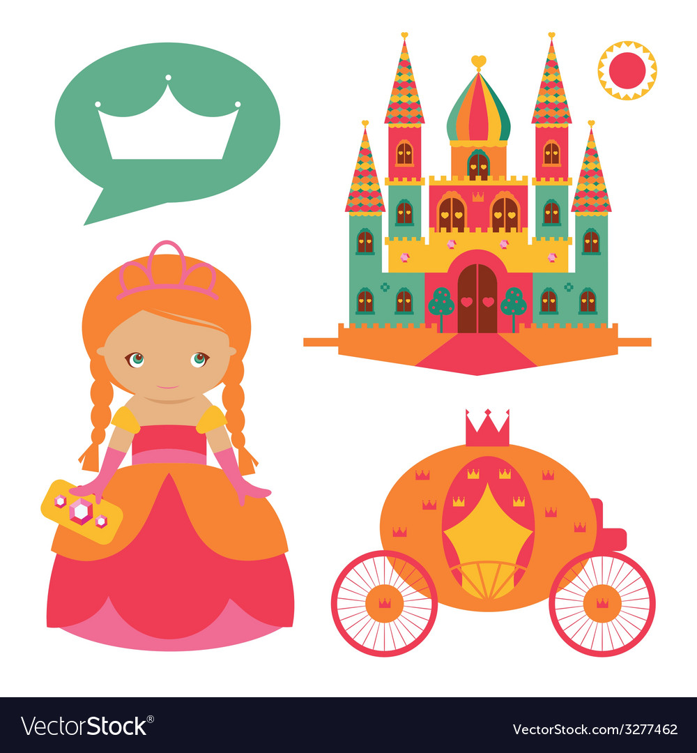 Castle and cute princess set vector | Price: 1 Credit (USD $1)