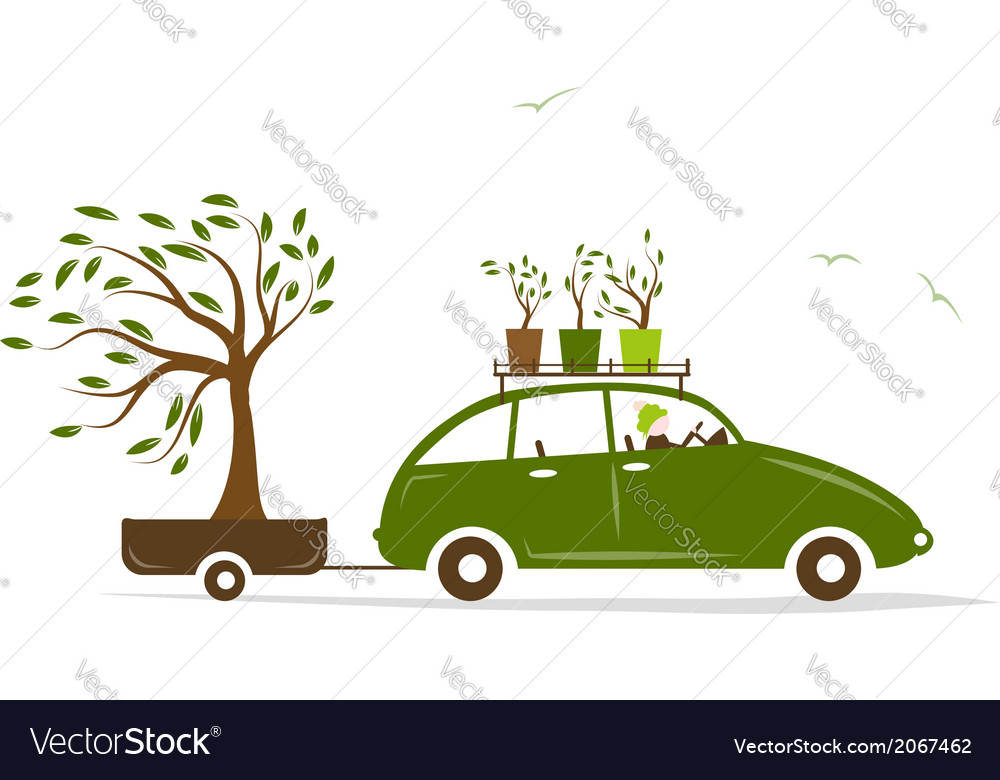 Cottager driving green car with tree in trailer vector | Price: 1 Credit (USD $1)