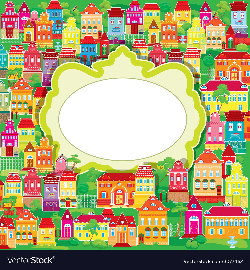 Houses summer frame 380 vector | Price: 1 Credit (USD $1)