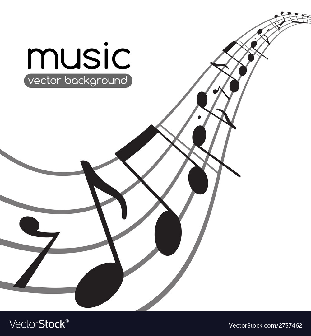 Music notes on wavy staff vector | Price: 1 Credit (USD $1)