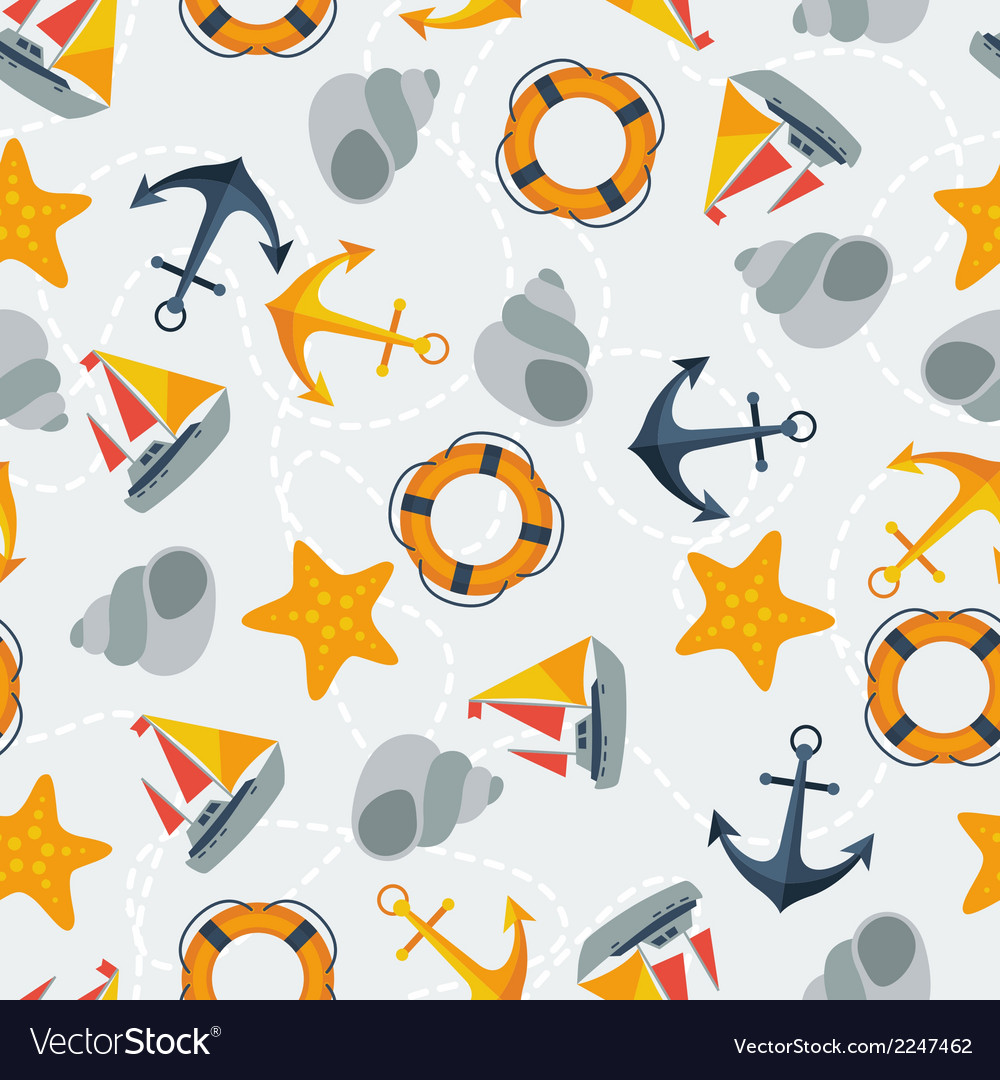 Nautical seamless pattern in flat design style vector | Price: 1 Credit (USD $1)