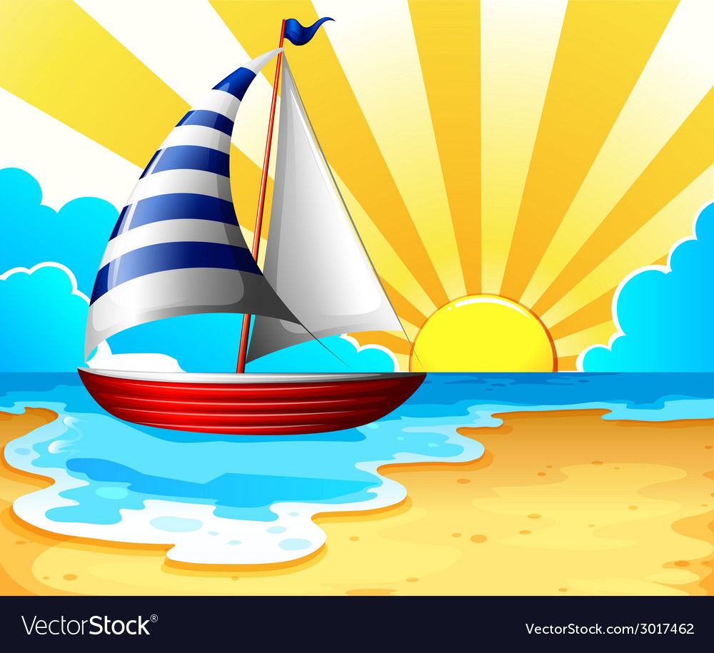 Sail and beach vector | Price: 1 Credit (USD $1)