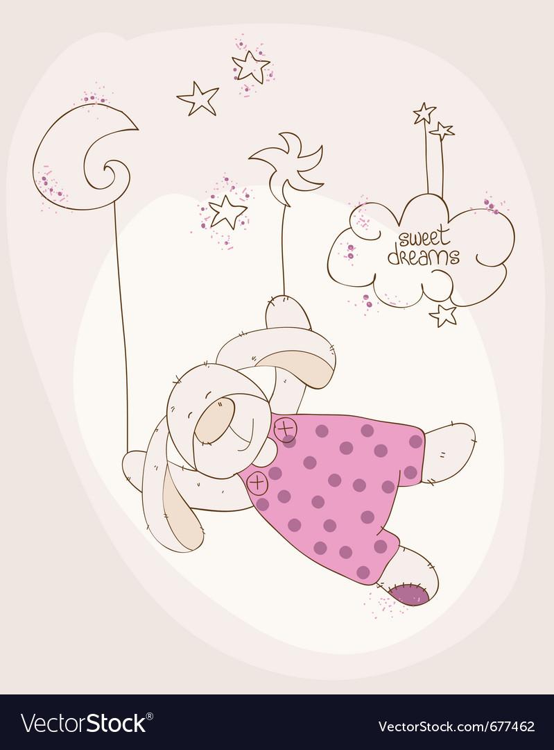 Sleeping baby bear cute card vector | Price: 1 Credit (USD $1)