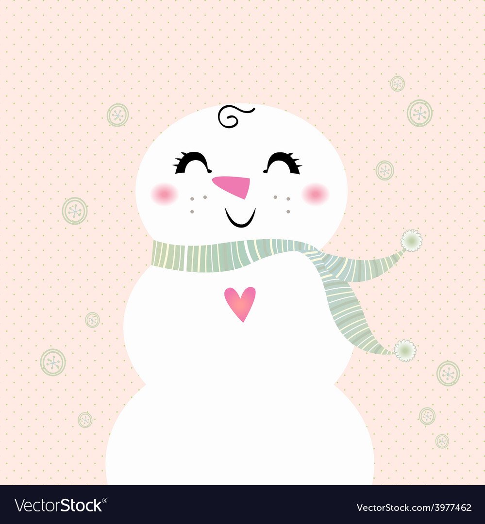 Snowman girl isolated on dotted background vector | Price: 1 Credit (USD $1)