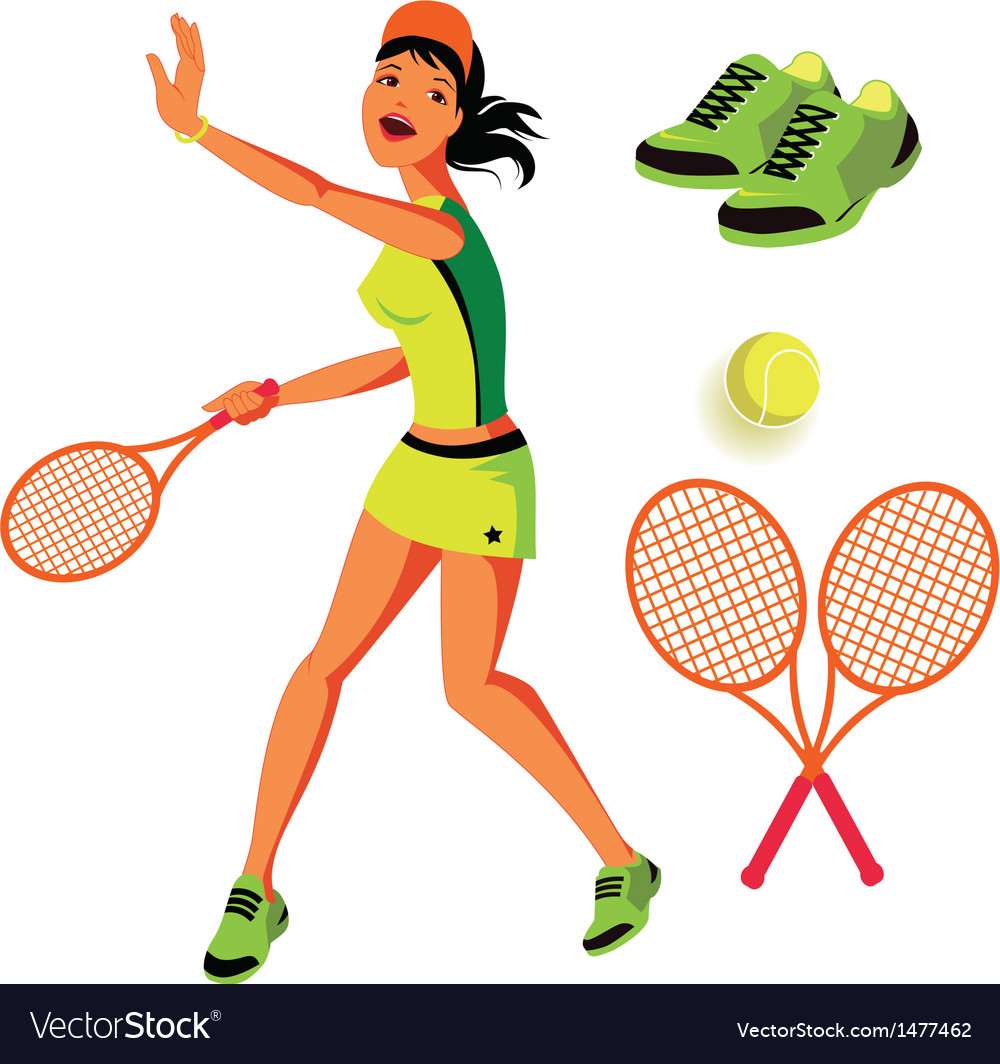 Tennis set vector | Price: 1 Credit (USD $1)