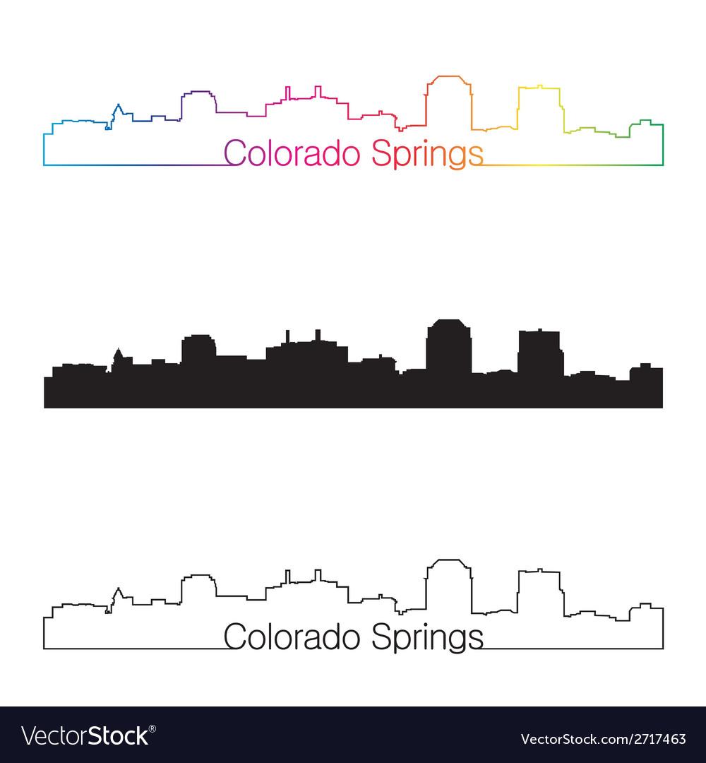Colorado springs skyline linear style with rainbow vector | Price: 1 Credit (USD $1)
