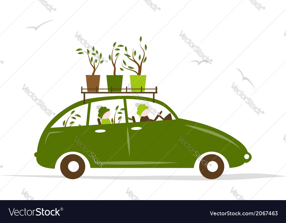 Family traveling by green car with plants on roof vector | Price: 1 Credit (USD $1)