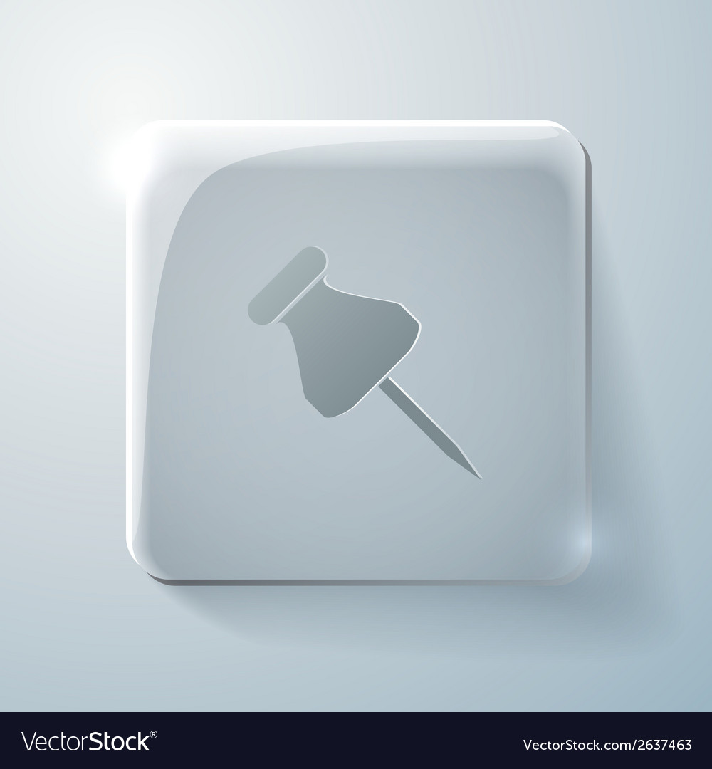 Glass square icon pin for papers vector | Price: 1 Credit (USD $1)