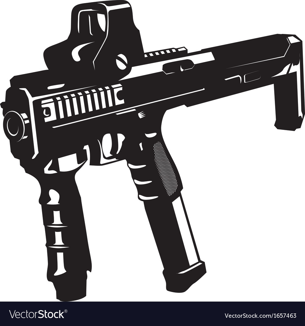 Machine gun with barbed wire and ribbon vector | Price: 1 Credit (USD $1)