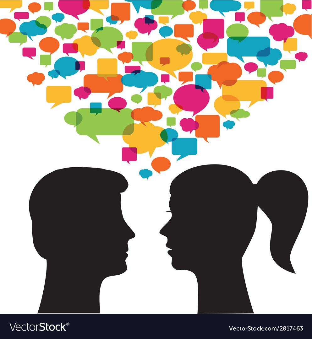 Man and woman with speech bubbles vector