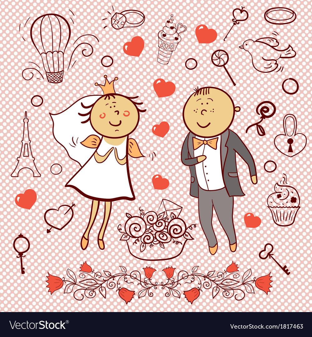 Romantic collection cute wedding set vector | Price: 1 Credit (USD $1)