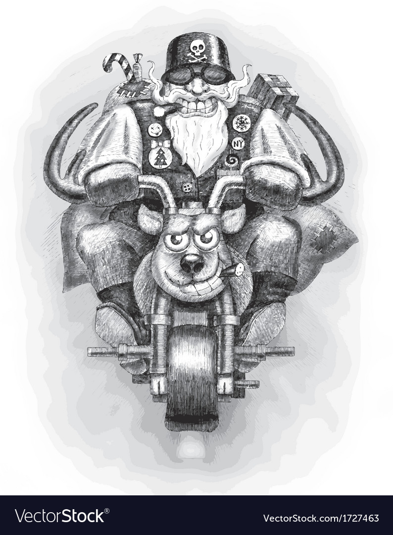 Santa claus biker vector | Price: 1 Credit (USD $1)