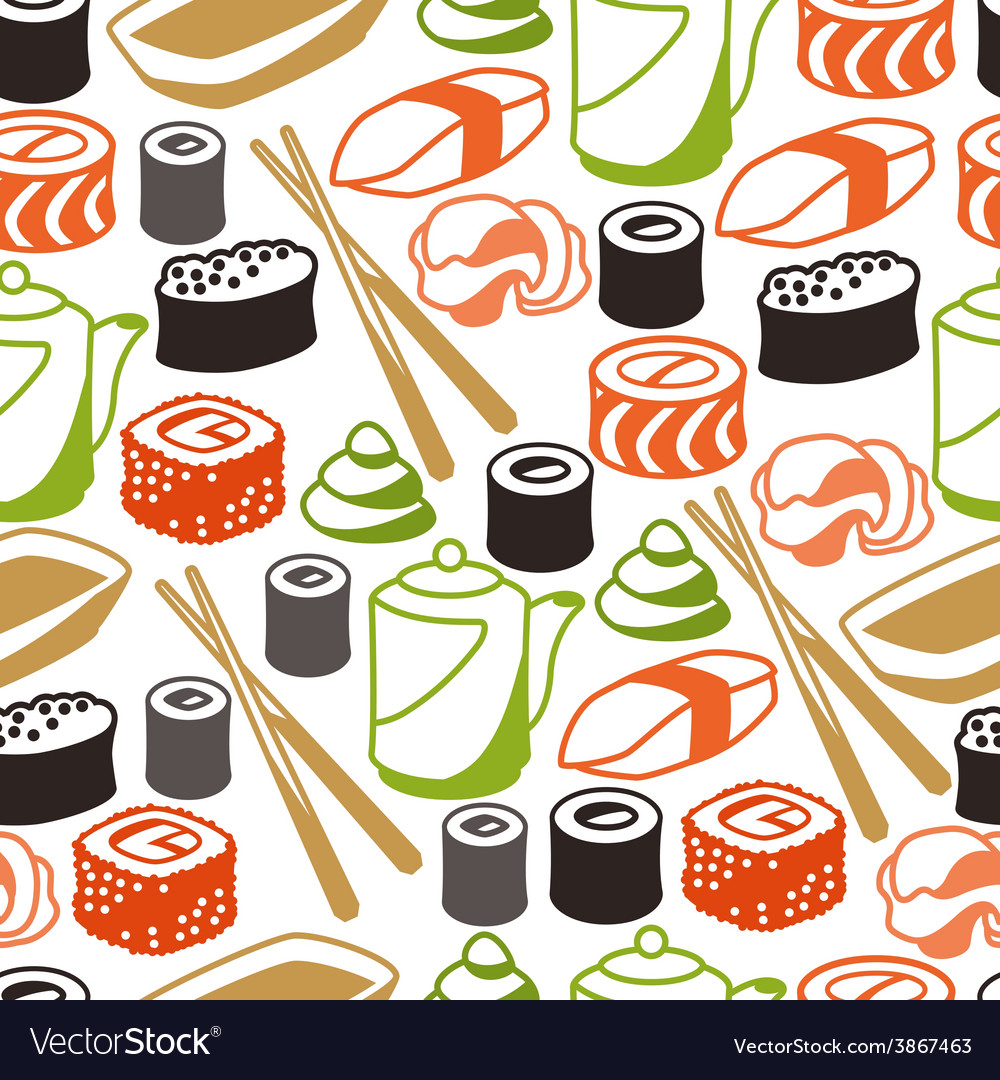 Seamless pattern with sushi vector | Price: 1 Credit (USD $1)