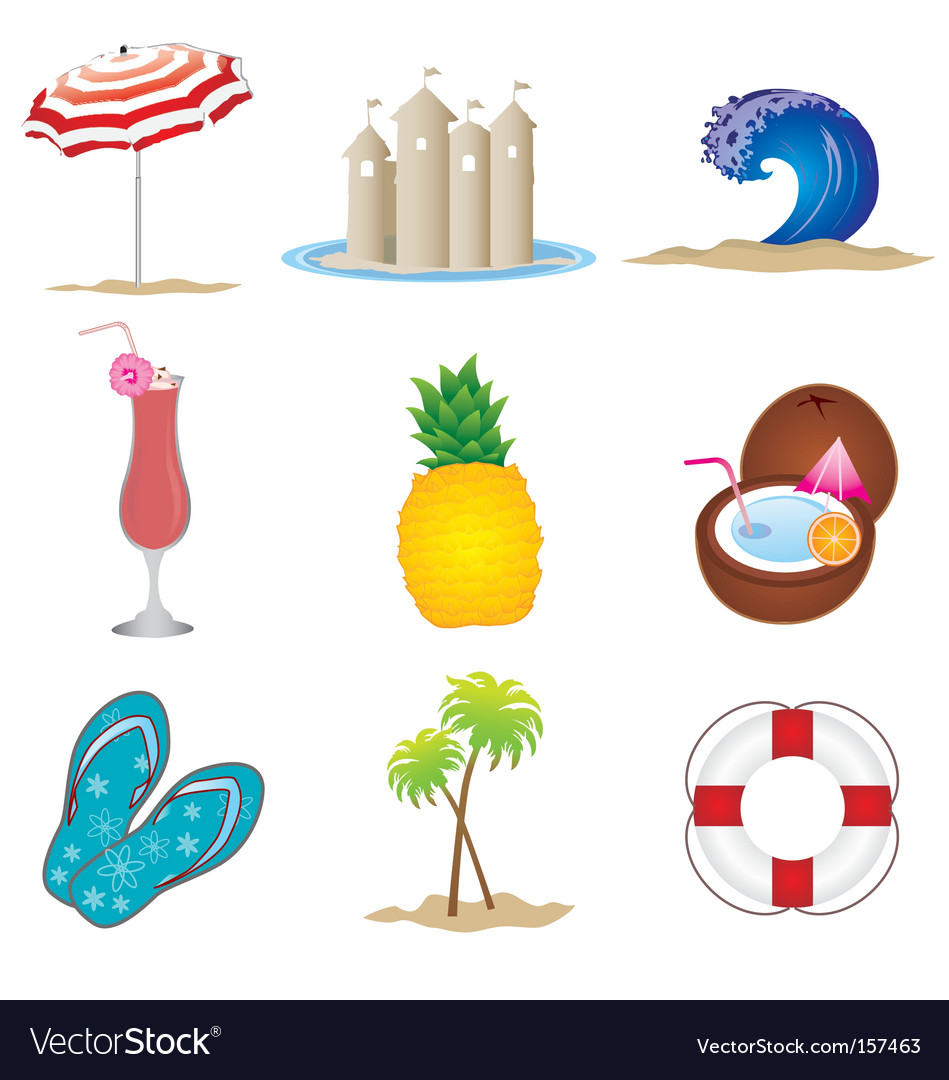 Summer objects set vector | Price: 3 Credit (USD $3)