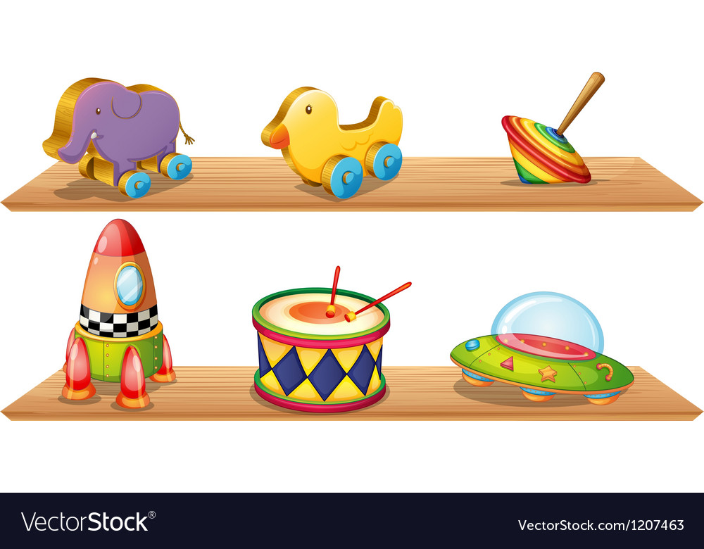 Two wooden shelves with different objects vector | Price: 1 Credit (USD $1)