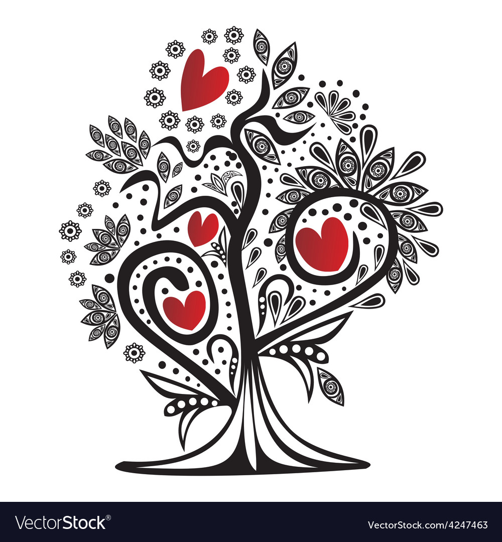 Valentines day card tree love hearts vector | Price: 1 Credit (USD $1)