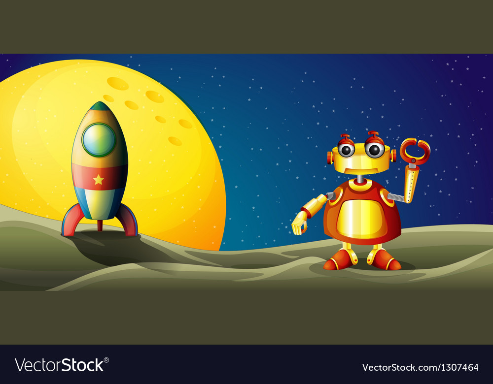 A robot and a spaceship in the outer space vector | Price: 1 Credit (USD $1)