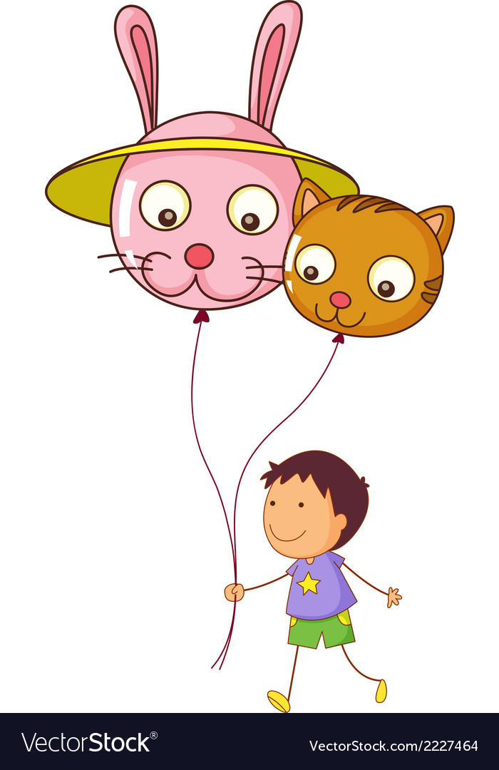 A young boy holding two balloons vector | Price: 1 Credit (USD $1)