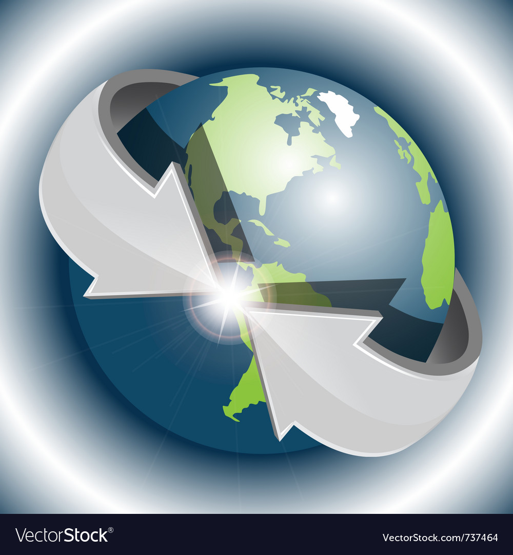 Arrows around globe vector | Price: 1 Credit (USD $1)