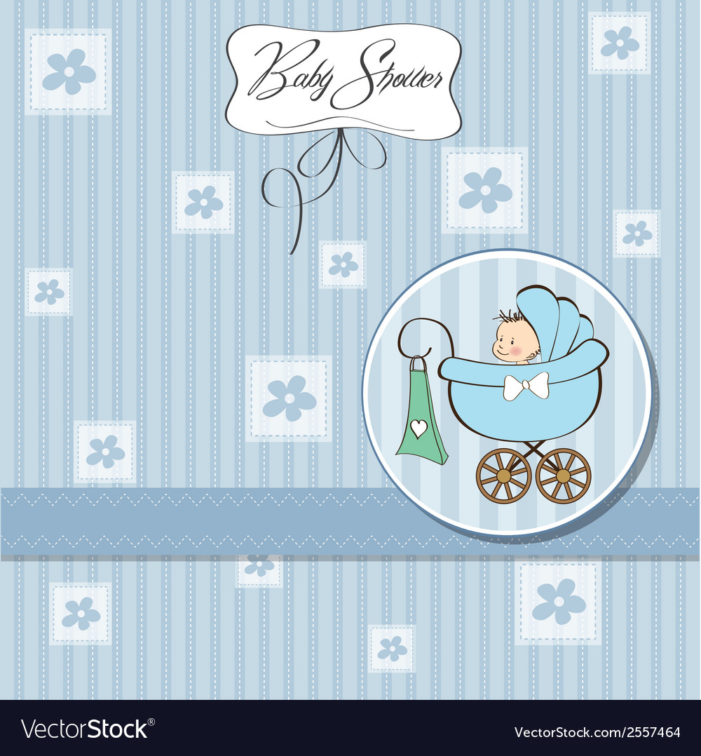 Baby boy announcement card with baby and pram vector   Price: 1 Credit (USD $1)