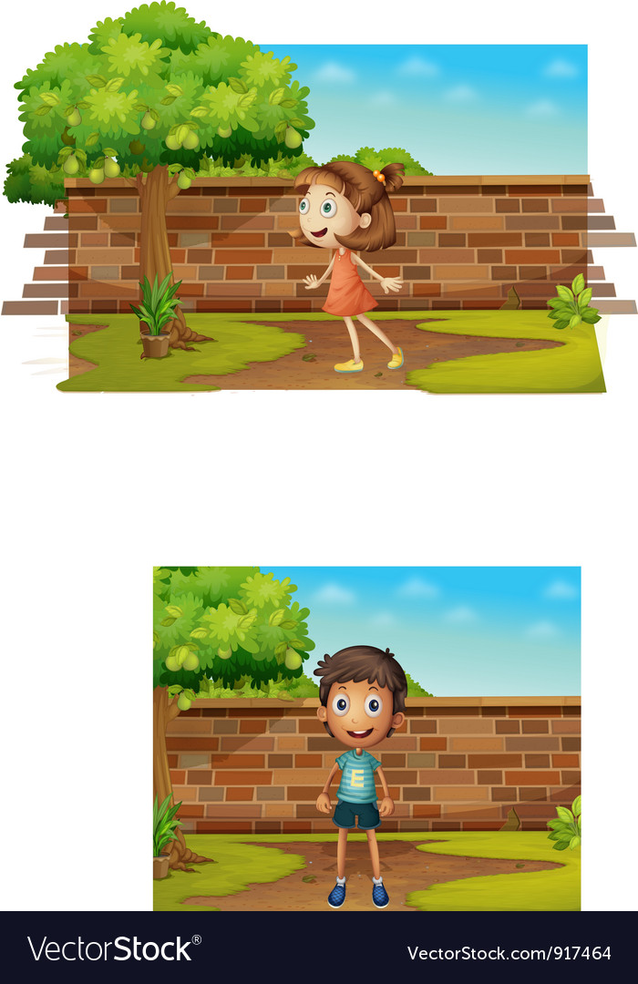 Boy standing in the yard vector | Price: 3 Credit (USD $3)