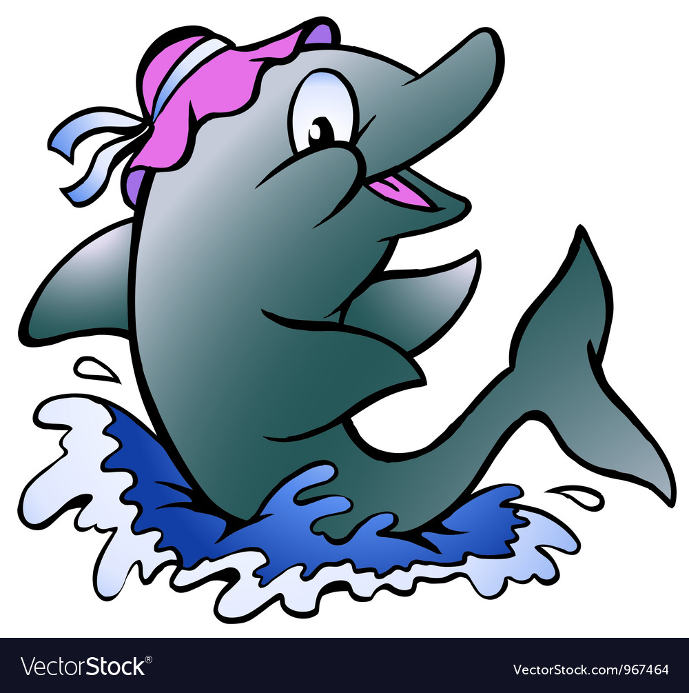 Hand-drawn of an dolphin playing in the blue water vector | Price: 1 Credit (USD $1)