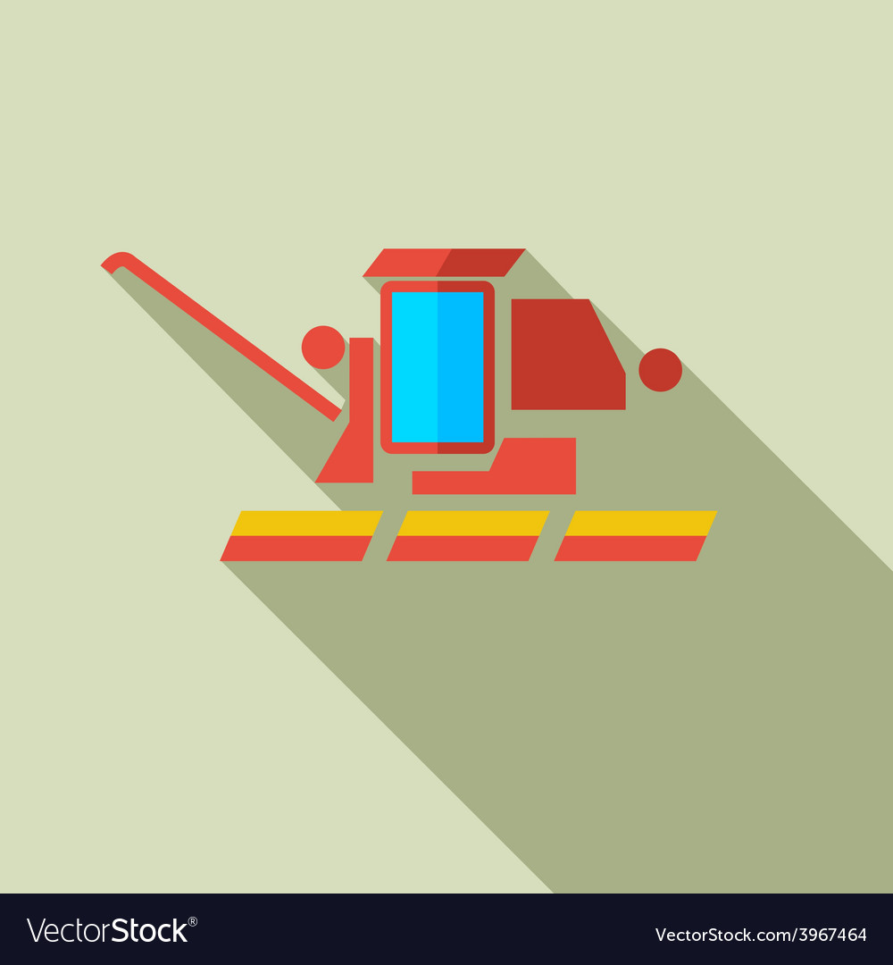Modern flat design concept icon combine harvester vector | Price: 1 Credit (USD $1)