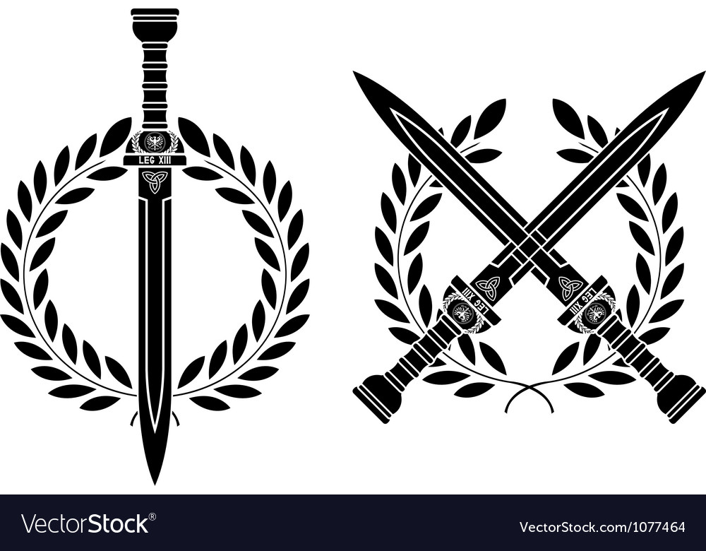 Roman swords and wreath vector | Price: 1 Credit (USD $1)