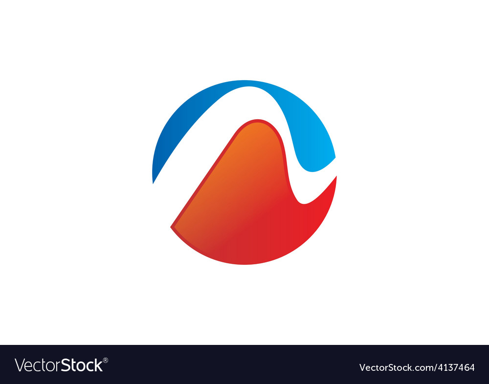 Round wave abstract blue red logo vector