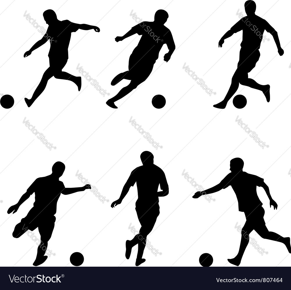 Soccer football players silhouettes vector | Price: 1 Credit (USD $1)