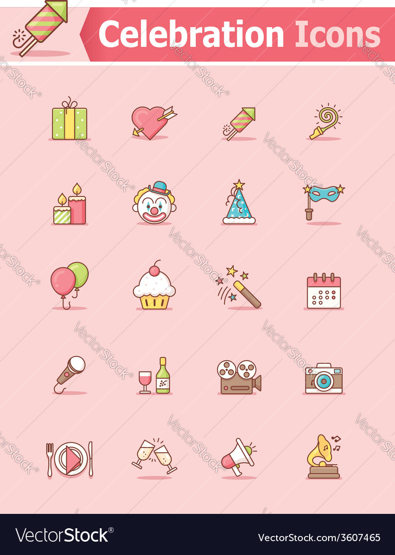 Celebration icon set vector | Price: 1 Credit (USD $1)