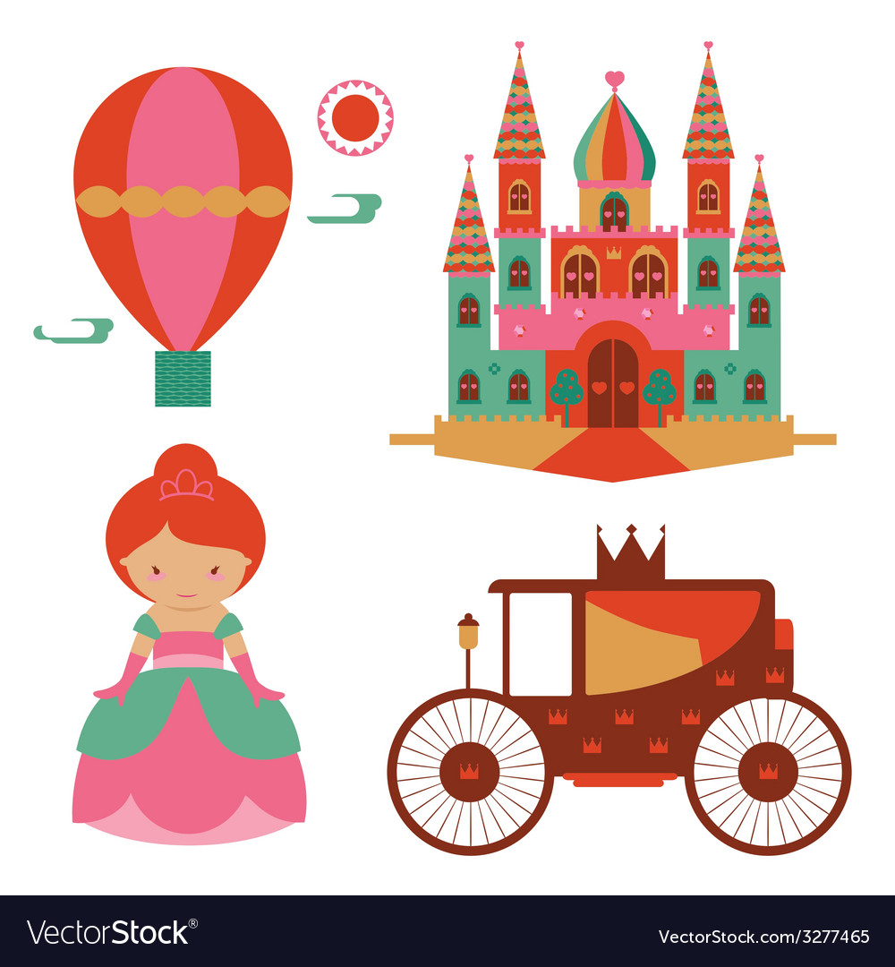 Fantasy castle and princess set vector | Price: 1 Credit (USD $1)