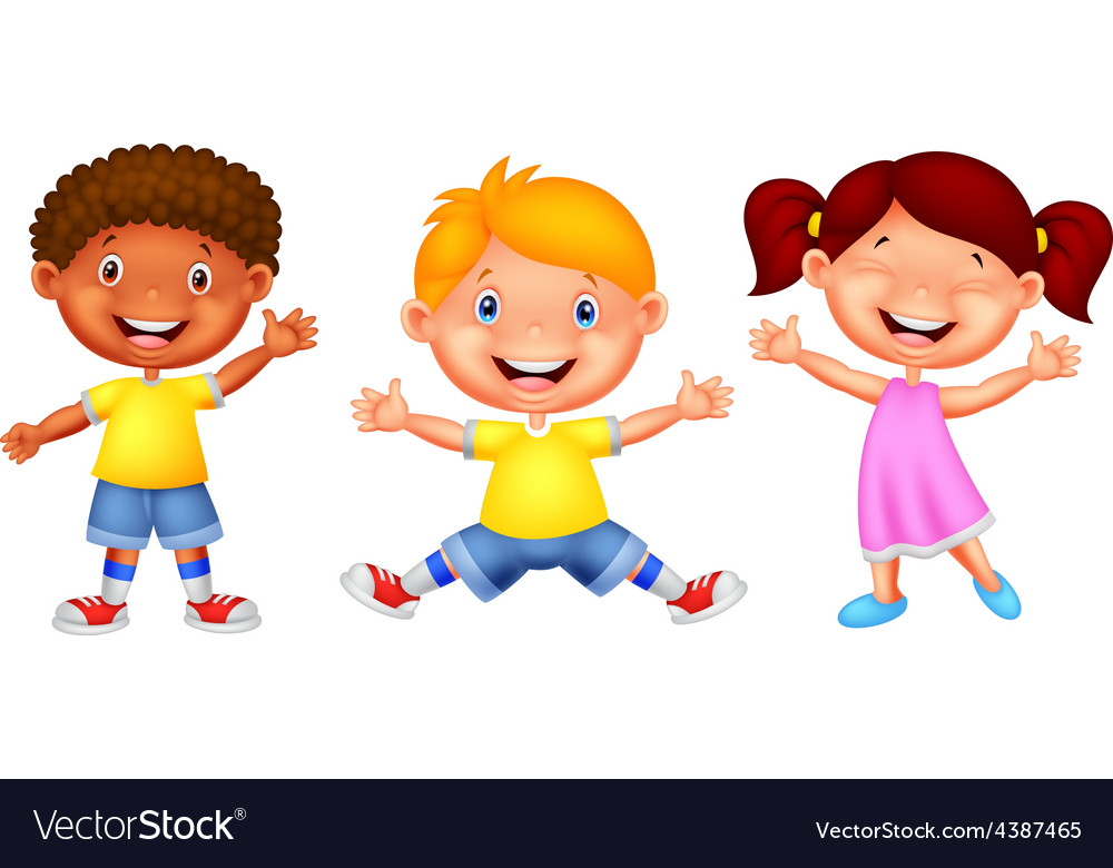Happy young children vector