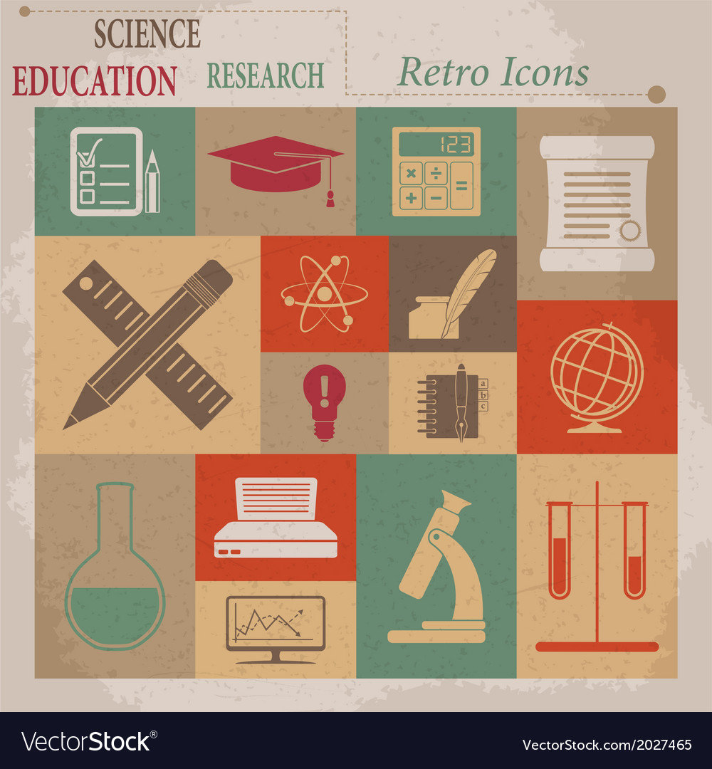 School and education flat retro icons vector | Price: 1 Credit (USD $1)