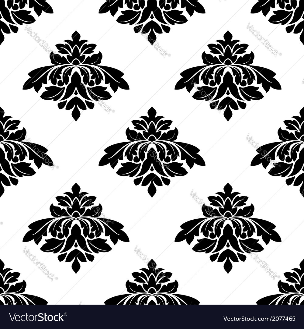 Seamless black and white damask style pattern vector | Price: 1 Credit (USD $1)