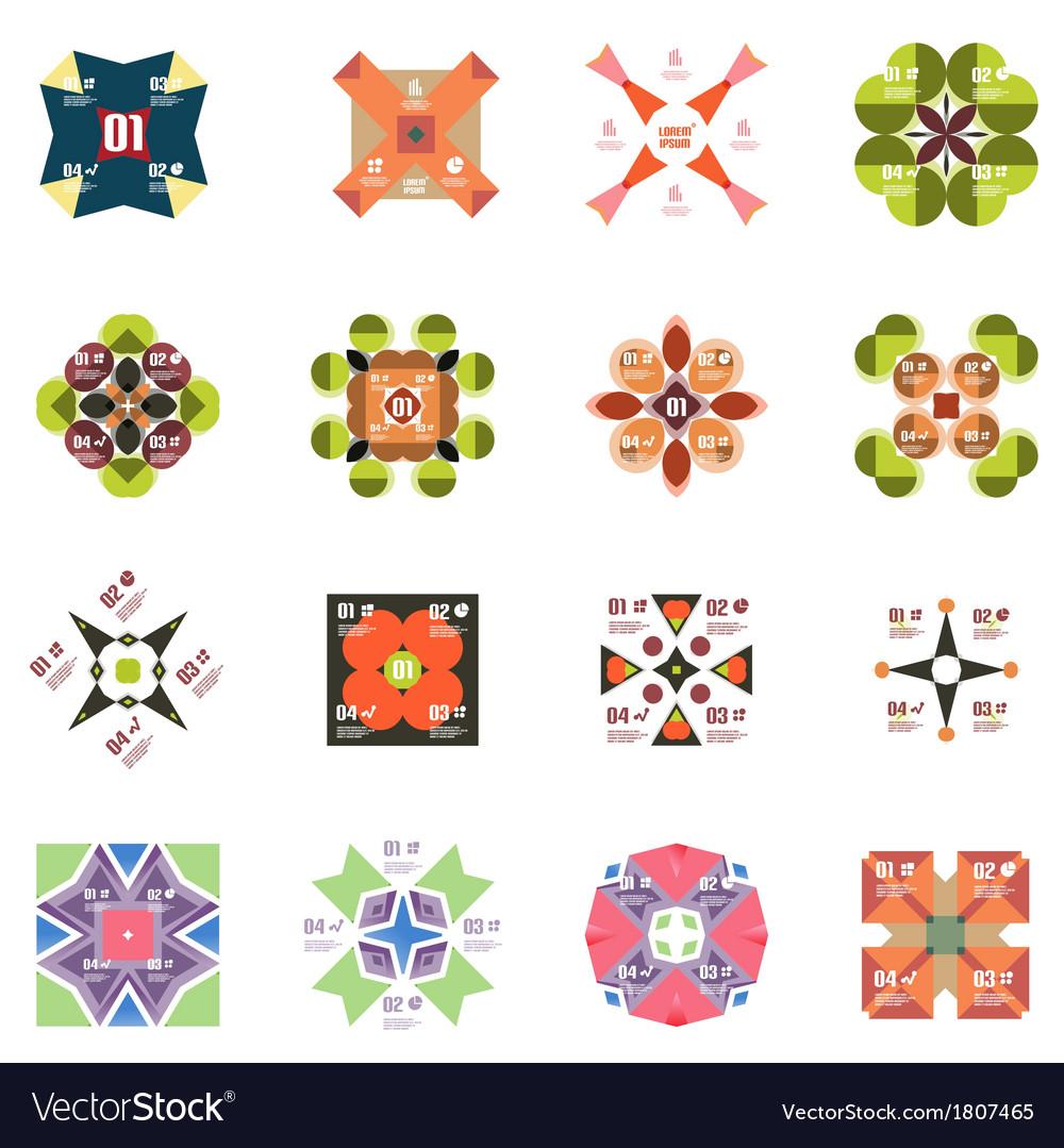 Set of geometric info templates vector | Price: 1 Credit (USD $1)