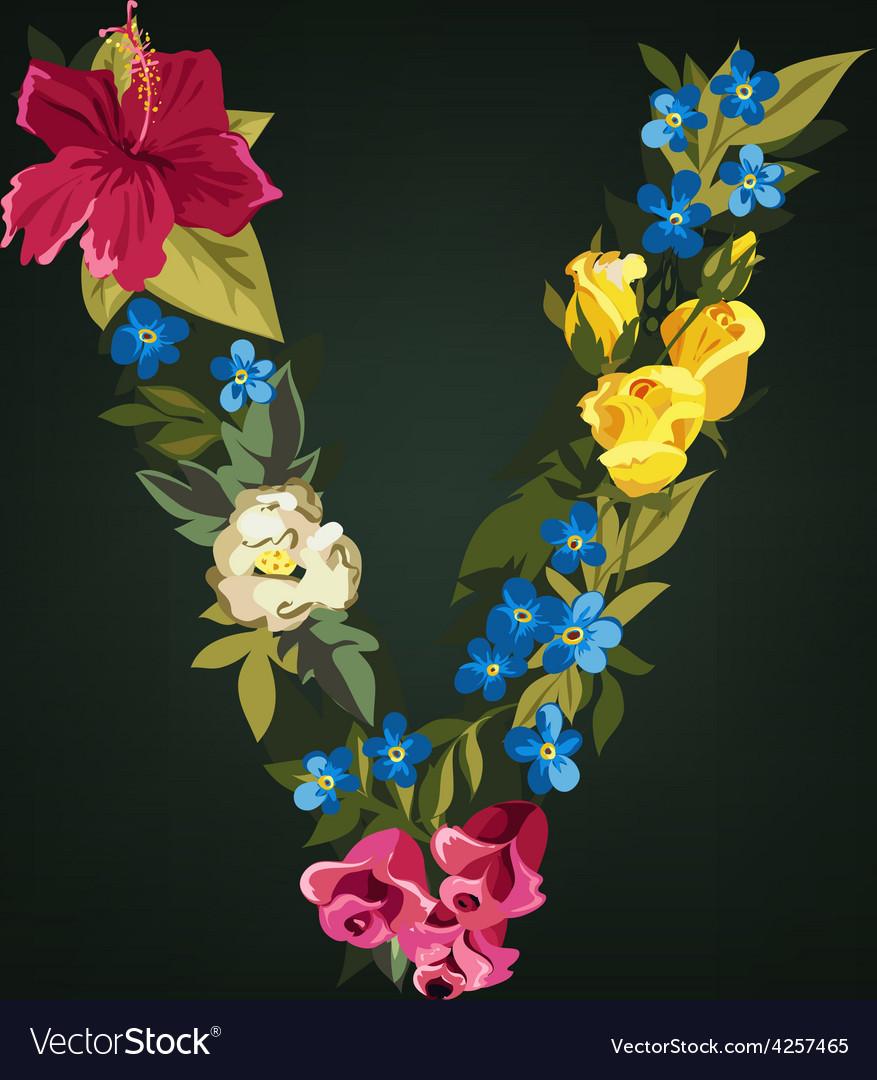 V letter flower capital alphabet colorful font vector | Price: 1 Credit (USD $1)