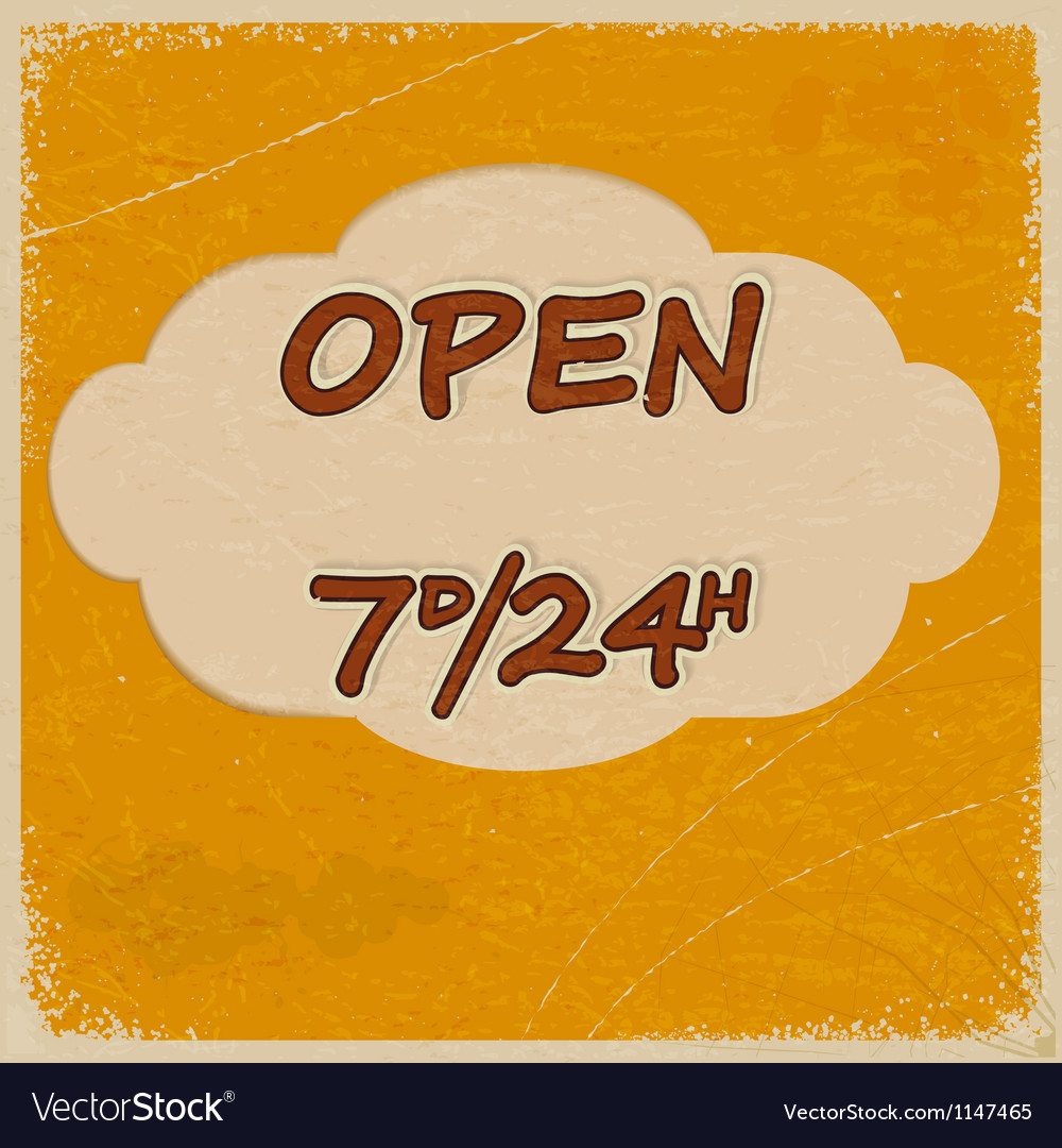 Vintage open sign with elements of grunge vector | Price: 1 Credit (USD $1)