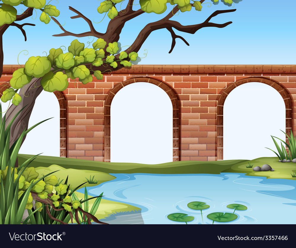 A bridge and a pond vector | Price: 3 Credit (USD $3)