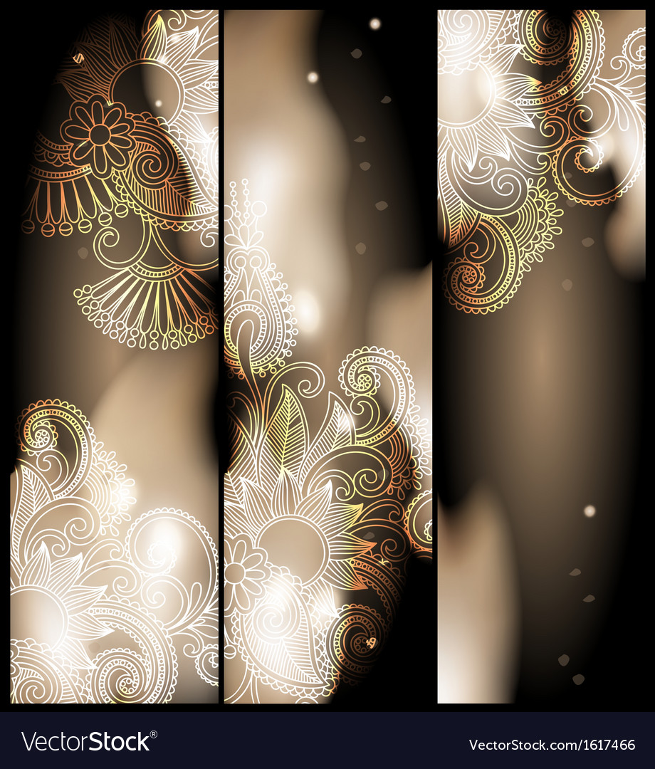 Abstract banner with floral ornament vector | Price: 1 Credit (USD $1)