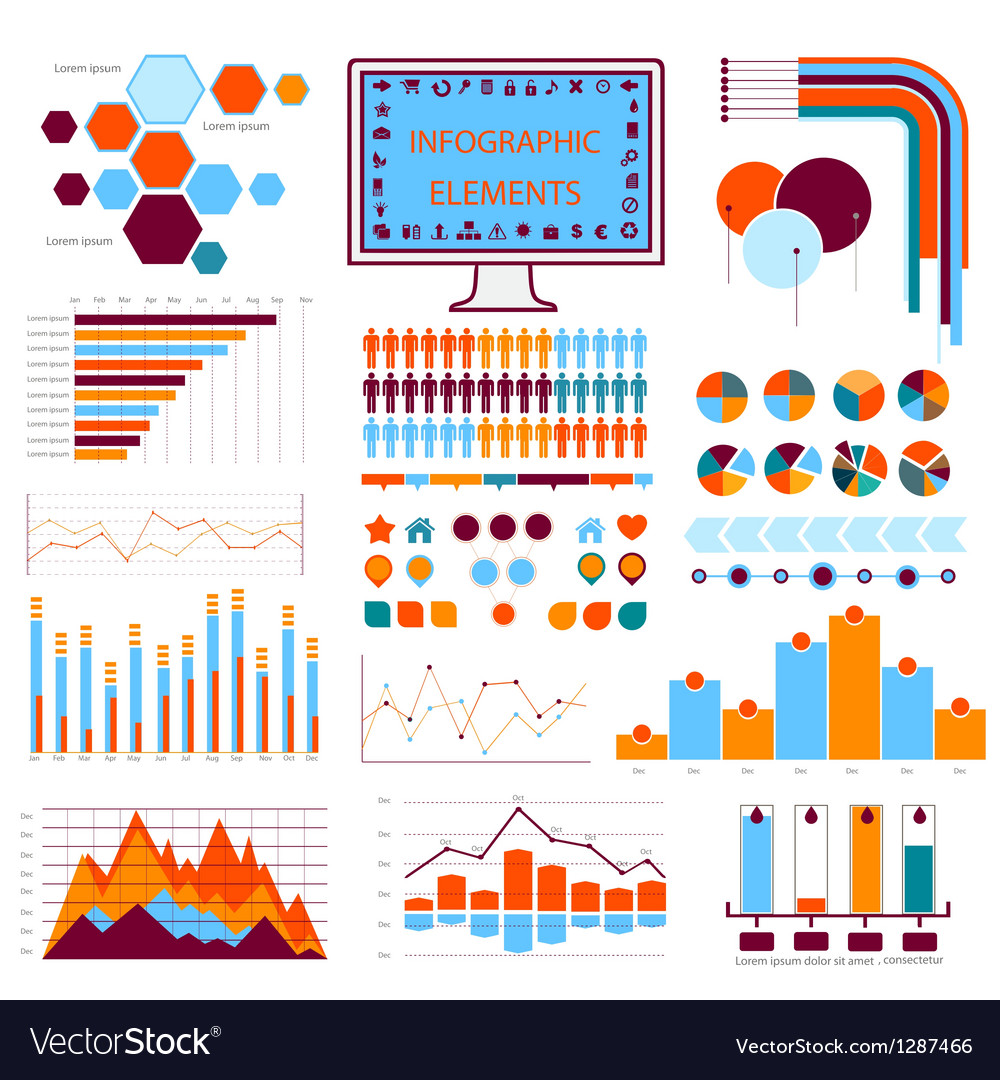 Blue orange info graphics vector | Price: 1 Credit (USD $1)