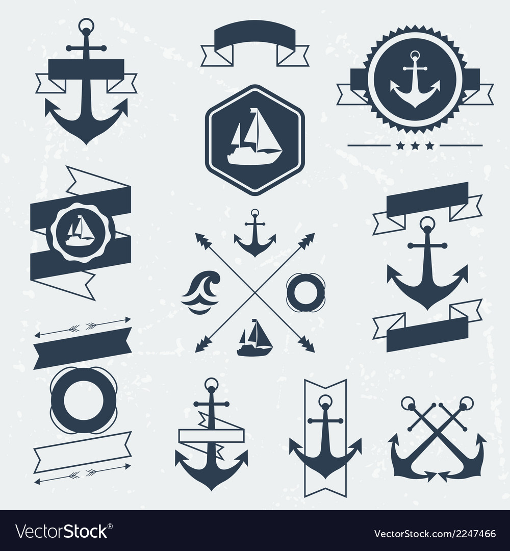 Collection of nautical symbols icons badges and vector | Price: 1 Credit (USD $1)