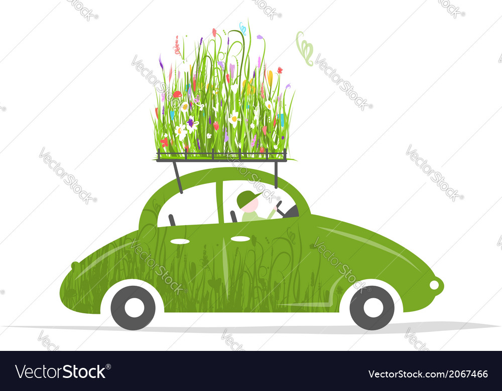 Cottager driving green car with plants on roof vector | Price: 1 Credit (USD $1)