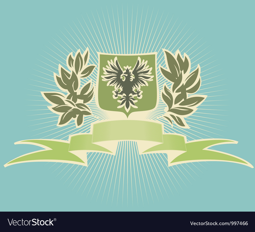 Green shield with eagle vector | Price: 1 Credit (USD $1)